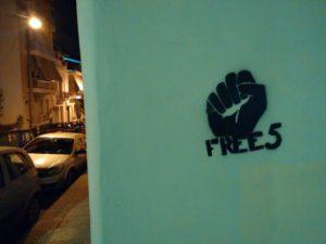 """Gesprühtes Schablonenbild der Kampagne """"Free5"""""""